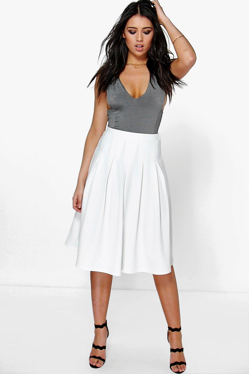 Ava Subtle Pleat Front Full Skirt