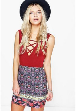 Texas Bohemian Floral Mini Skirt