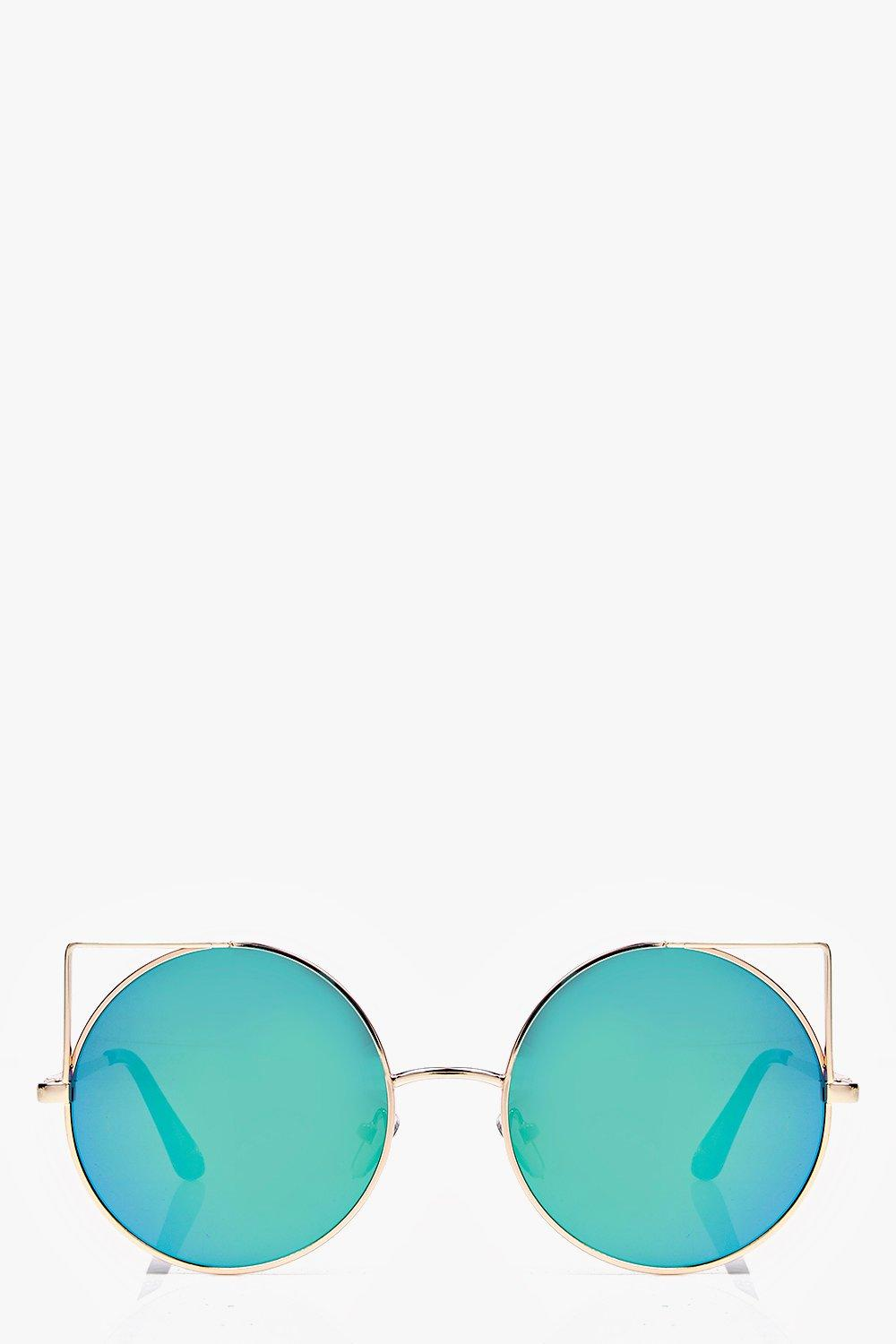Round Metal Frame Cat Eye Sunglasses gold