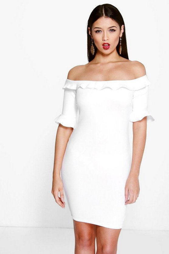 Leni Off The Shoulder Frill Sleeve Bodycon Dress