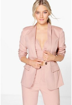 Boutique Sofia Tailored Button Woven Blazer