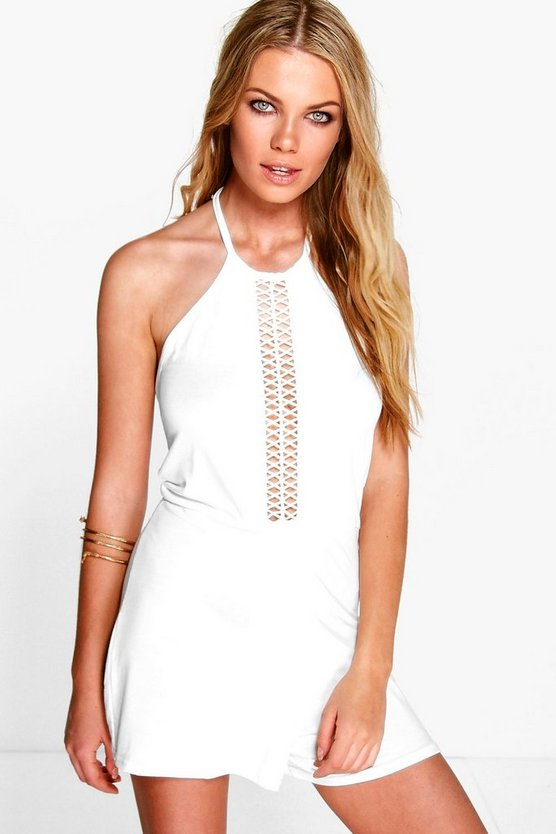 Ella Crochet Trim Cut Away Shoulder Playsuit