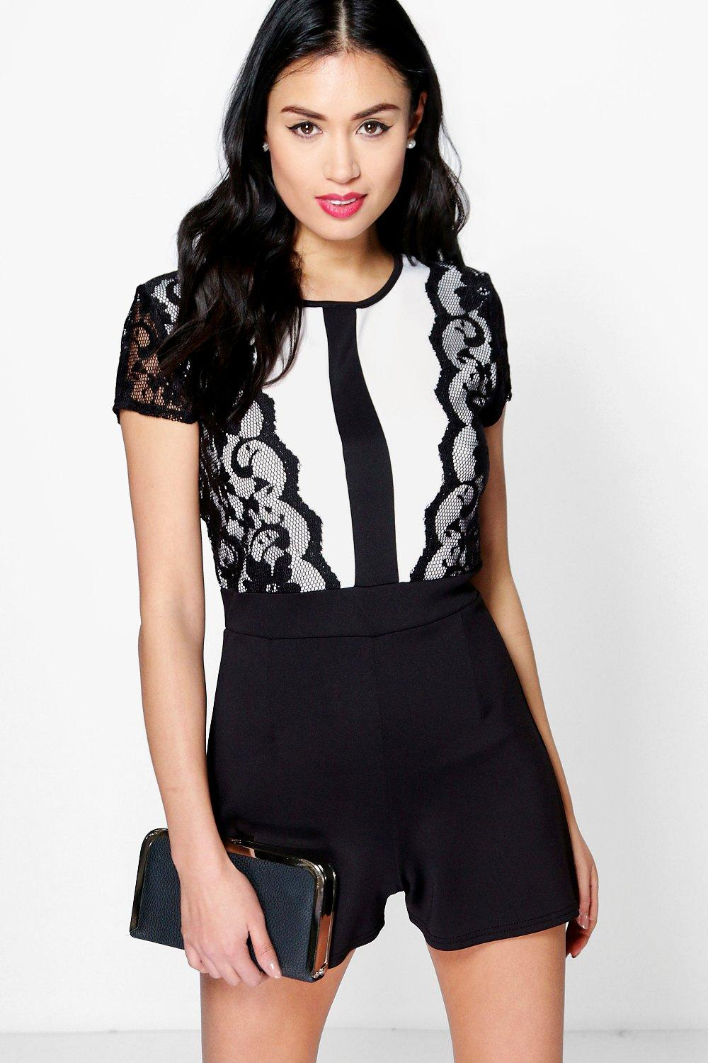 Lara Lace Trim Capped Sleeve Playsuit