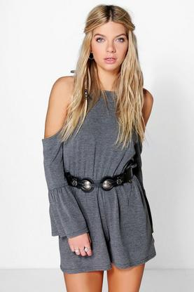 Luna Open Shoulder Frill Sleeved Playsuit