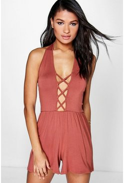 Rose Lace Up Front Halterneck Playsuit