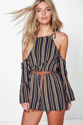 Jonna Open Shoulder Frill Sleeve Stripe Playsuit
