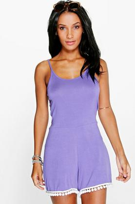 Mia Open Back Pom Pom Trim Playsuit