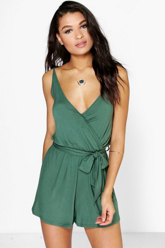 Cami Style Wrap Belt Jersey Playsuit