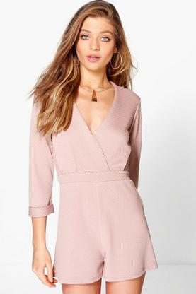 Kitty Textured Wrap Front Playsuit