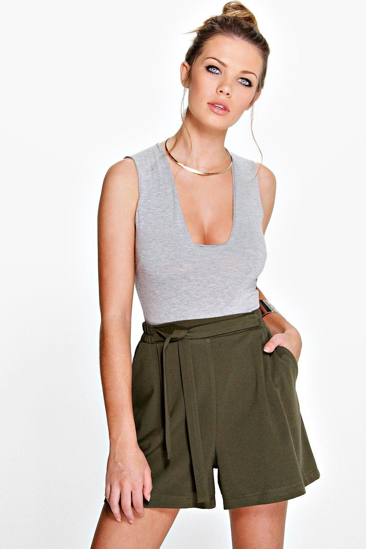 Longer Length Tie Belt Pleated Shorts  khaki