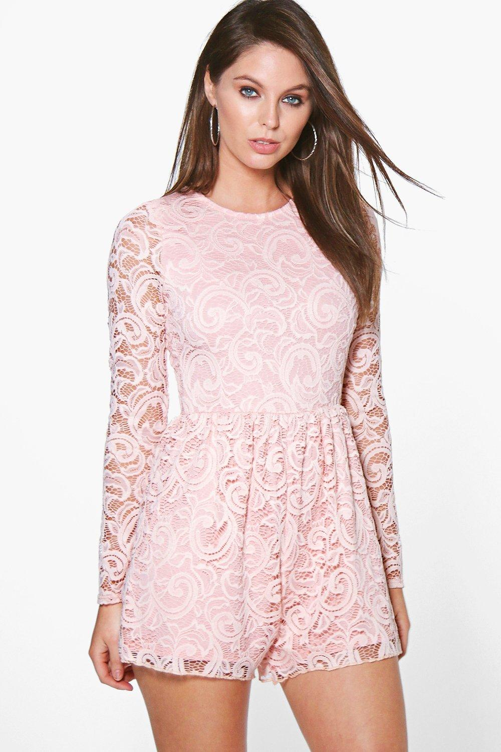 Gia Long Sleeve Lace Playsuit