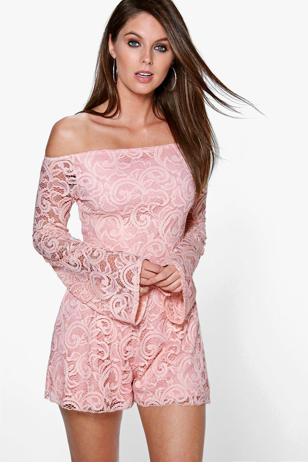 Helen Off The Shoulder Flute Sleeve Playsuit
