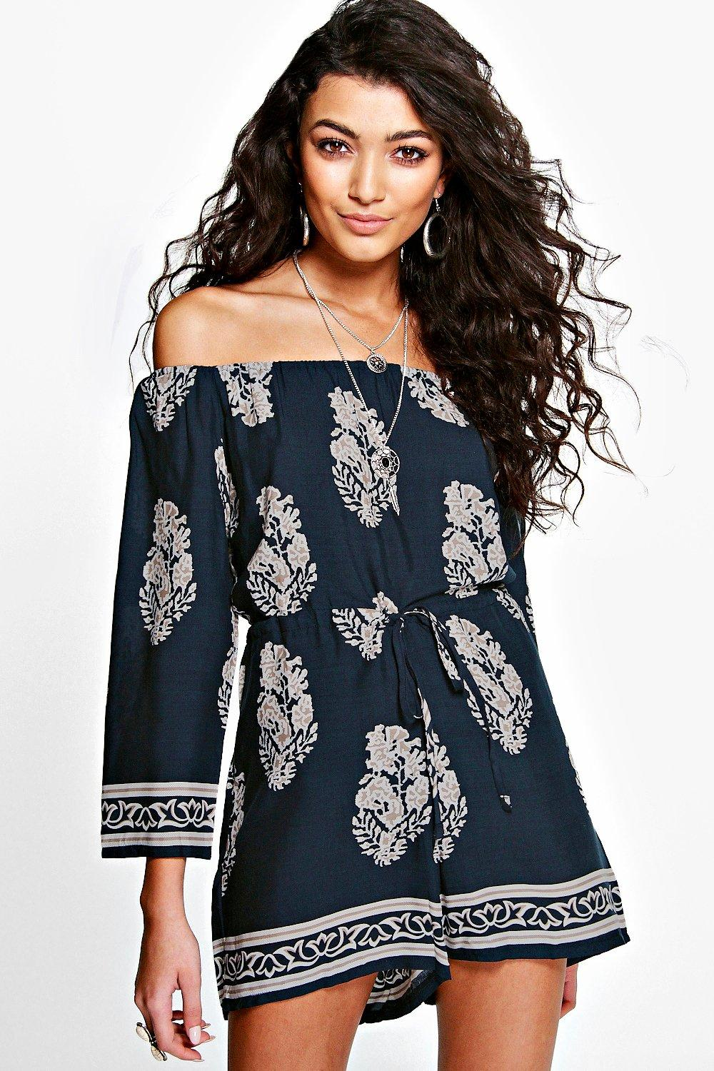 Off The Shoulder Printed Playsuit navy