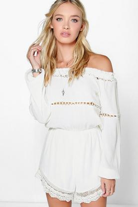 Ella Off The Shoulder Chiffon Playsuit