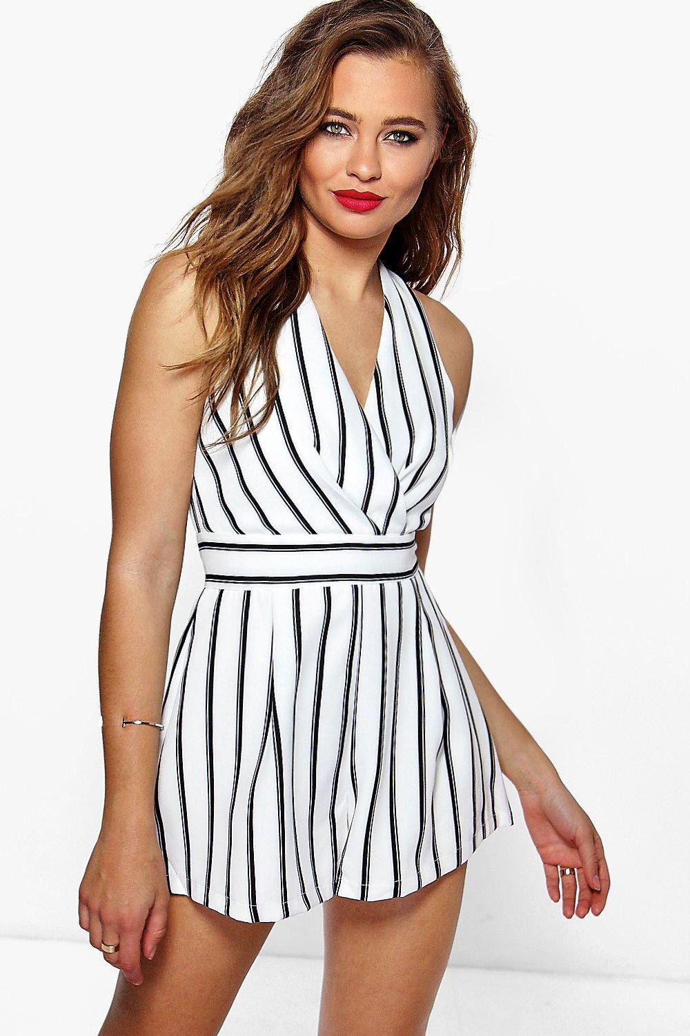 Wrap Over Stripe Playsuit - white