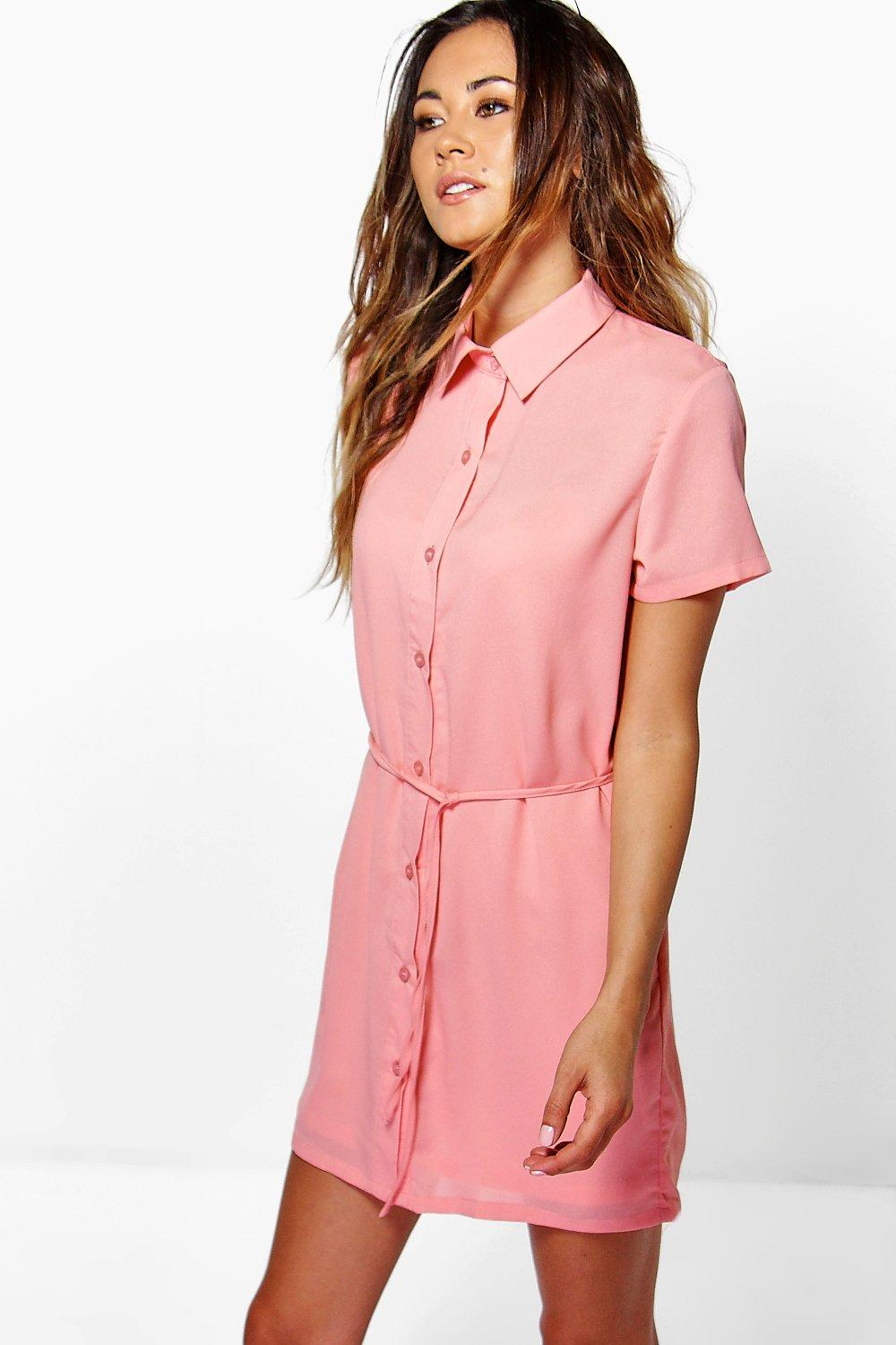 Allie Split Side Skinny Tie Shirt Dress