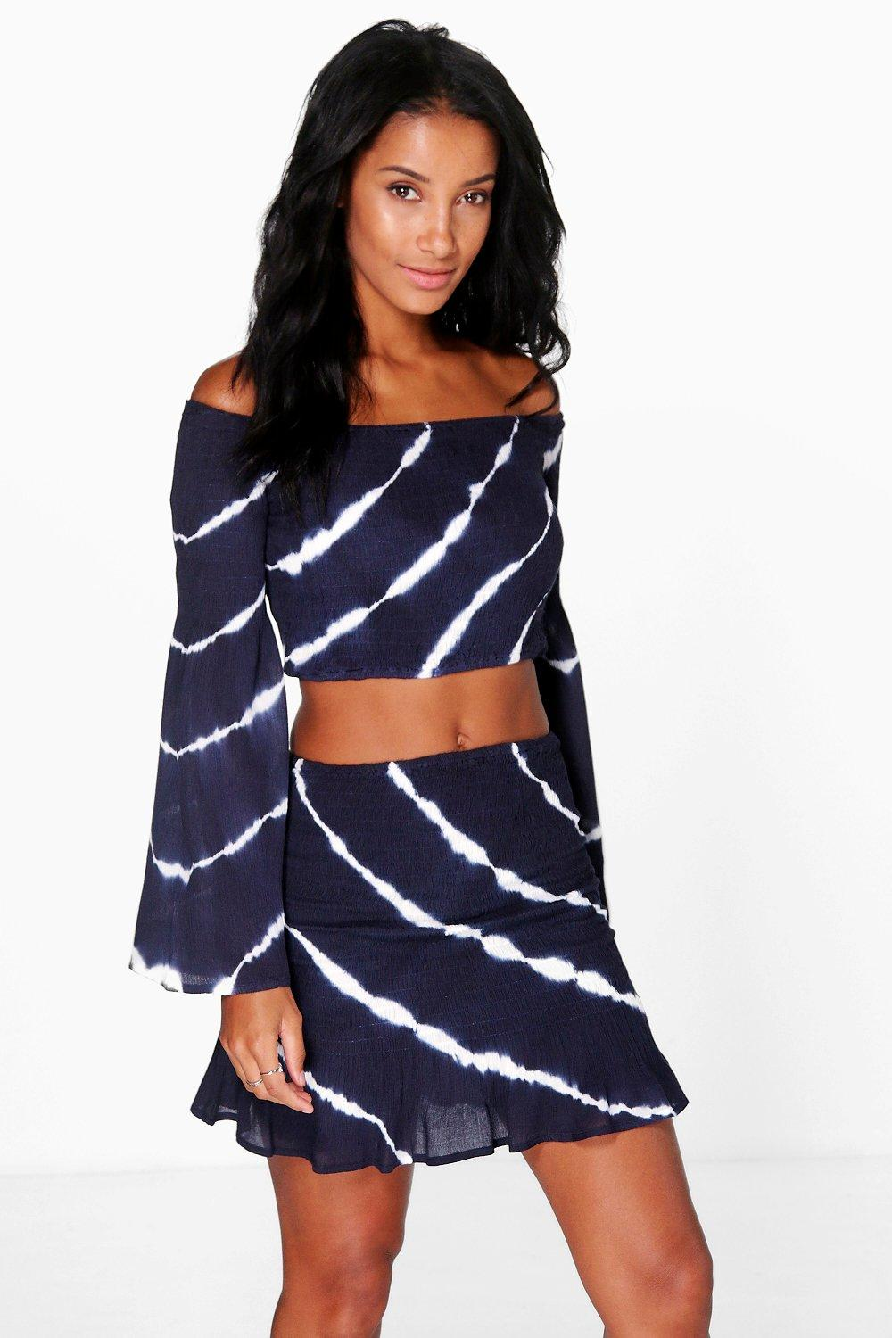 Tie Dye Off The Shoulder Top & Flippy Skirt Set  navy