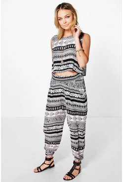 Jade Monochrome Paisley Trouser Co-Ord Set