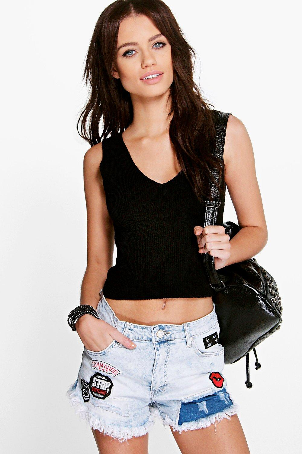 Erin V Neck Rib Crop Top