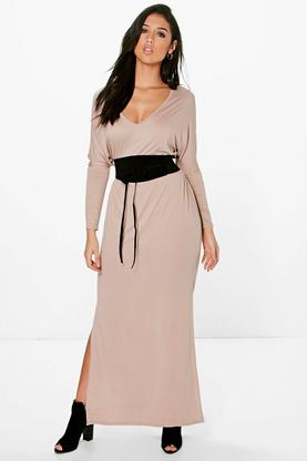 Carina Batwing Obi Belt Maxi Dress