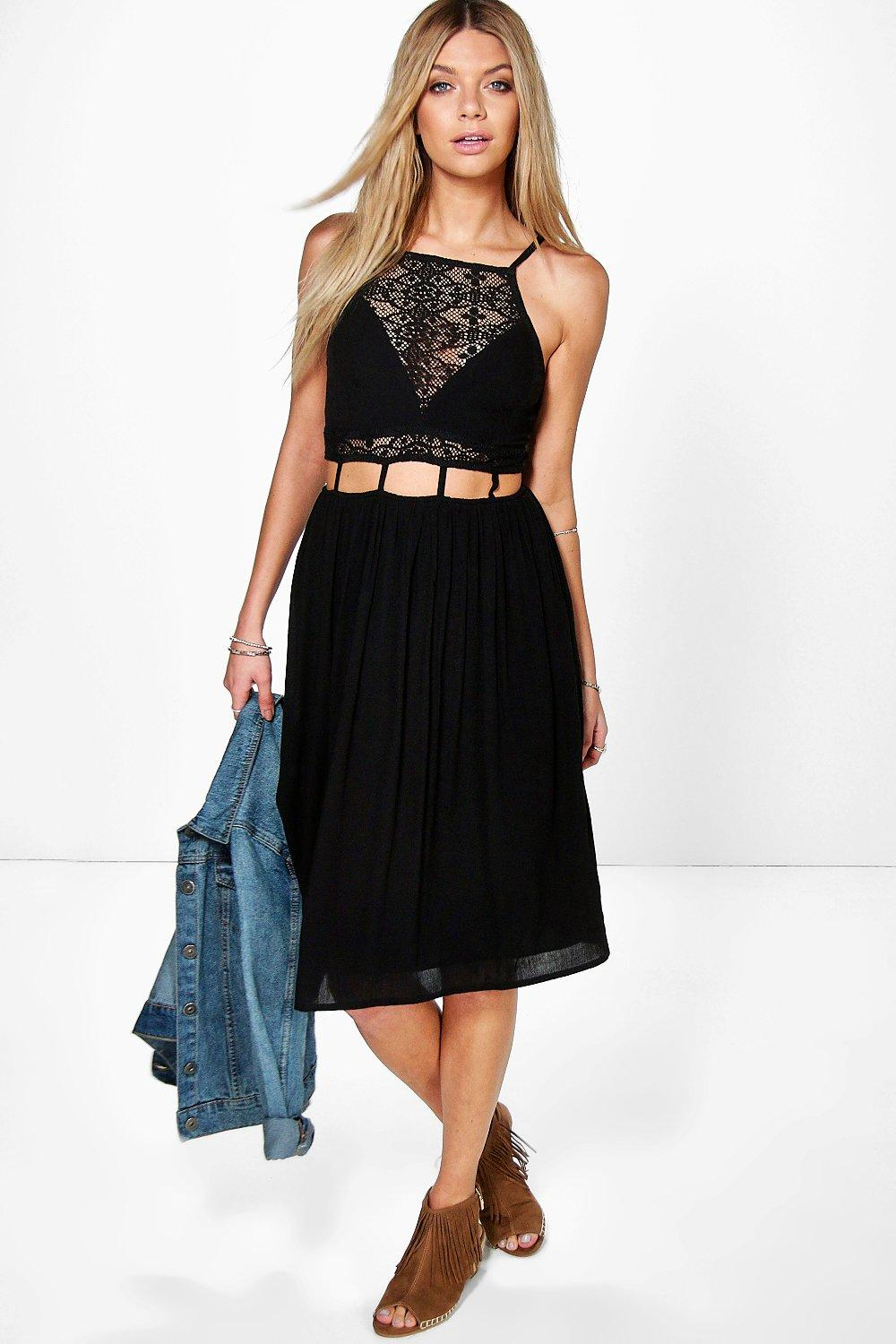 Enya Crochet Insert Cut Out Waist Midi Dress