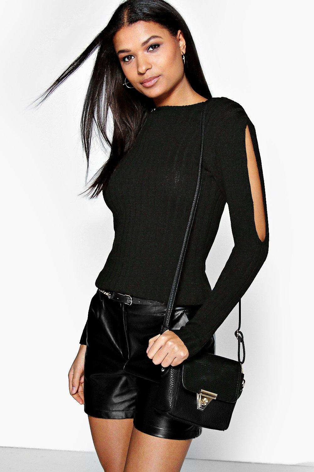 Ellie Cold Shoulder Rib Knit Jumper