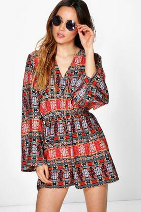 Holly Deep Plunge Scarf Print Flute Sleeve Playsuit