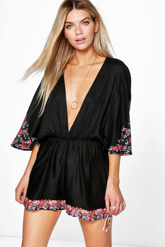 Daisy Cape Style Floral Playsuit