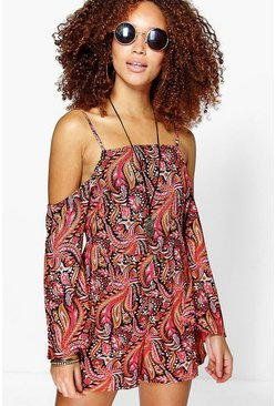 Jane Open Shoulder Flute Sleeve Playsuit