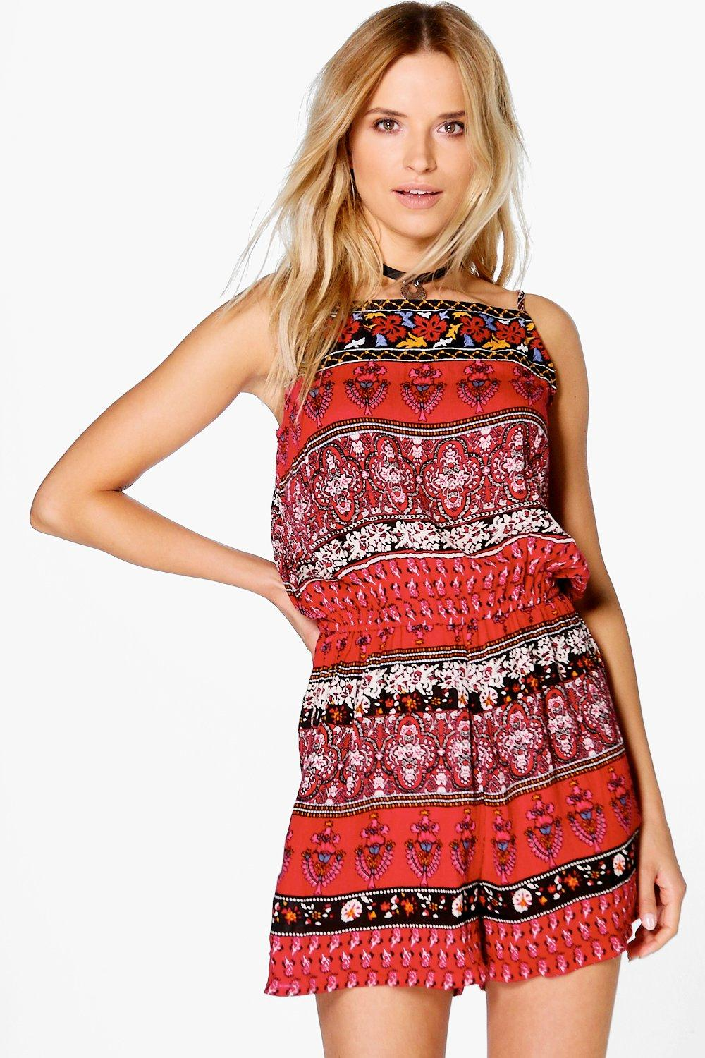 Product photo of Embroidered playsuit red