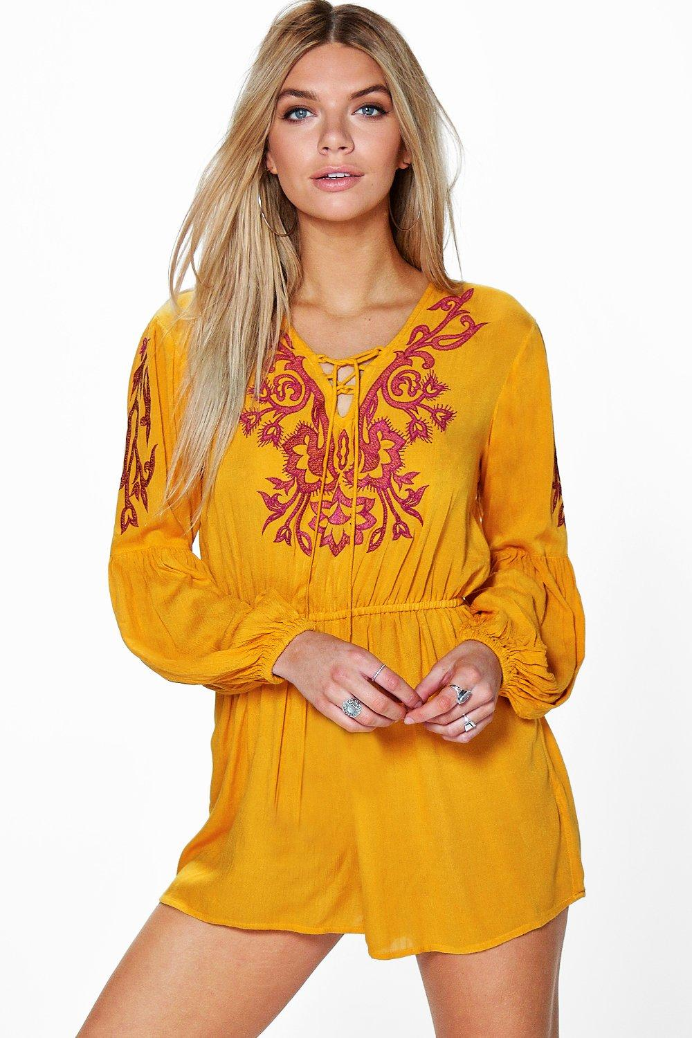 Ria Embroidered Tassel Trim Playsuit