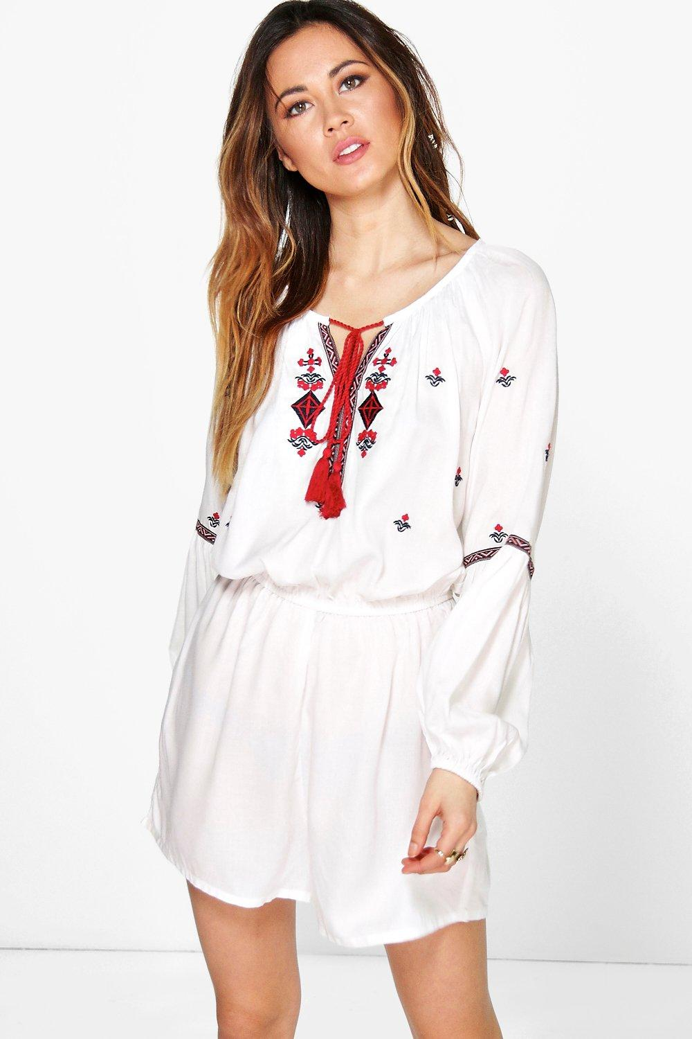 Product photo of Embroidered balloon sleeve playsuit ivory