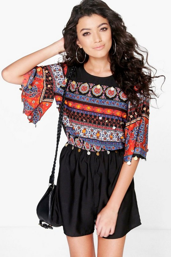 Boutique Lara Angel Sleeve Embellished Playsuit