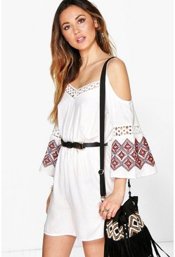 Lottie Embroidered Sleeve Open Shoulder Playsuit