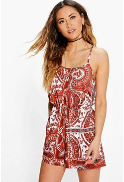 Katie Paisley Cutaway Shoulder Playsuit