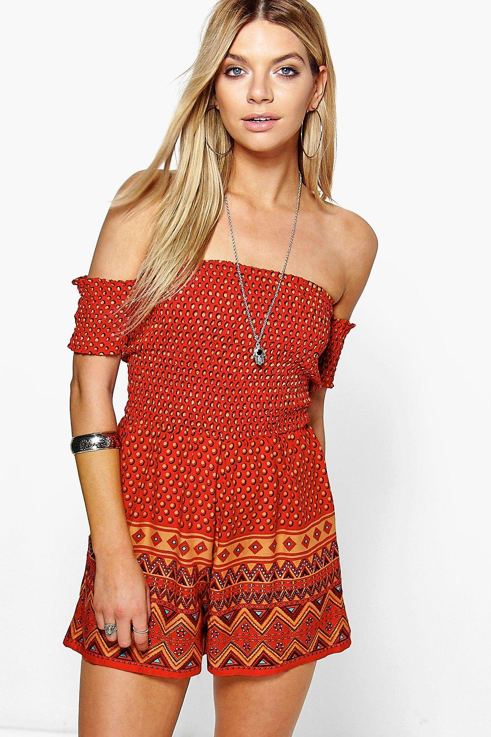 Shally Smocked Top Off The Shoulder Playsuit