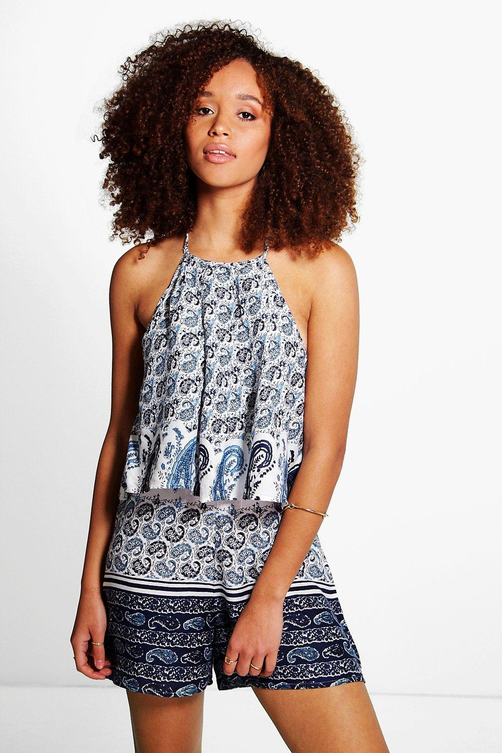 Lucy Blue Paisley High Neck Playsuit