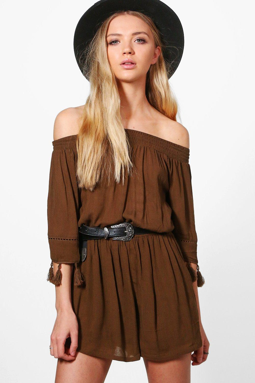 Eve Tassel Sleeve Off The Shoulder Woven Playsuit