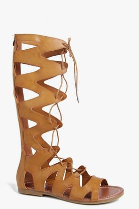 Anya Knee High Lace Up Gladiator Sandal