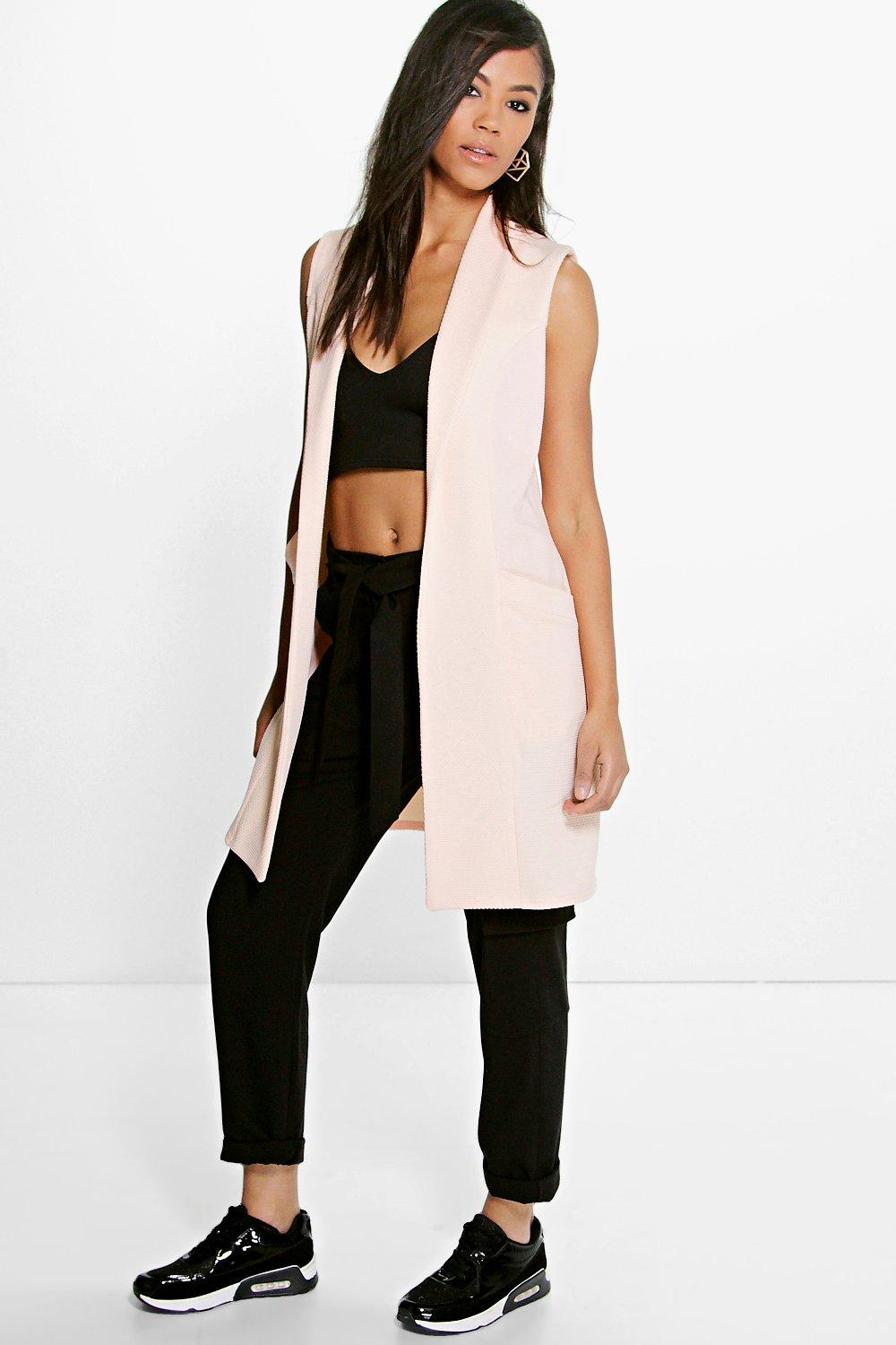 Eva Sleeveless Shawl Collar Duster With Pockets