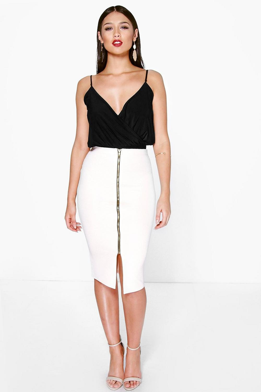 Ginny Zip Front Ribbed Midi Skirt