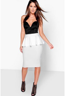 Morgan Scallop Peplum Midi Skirt