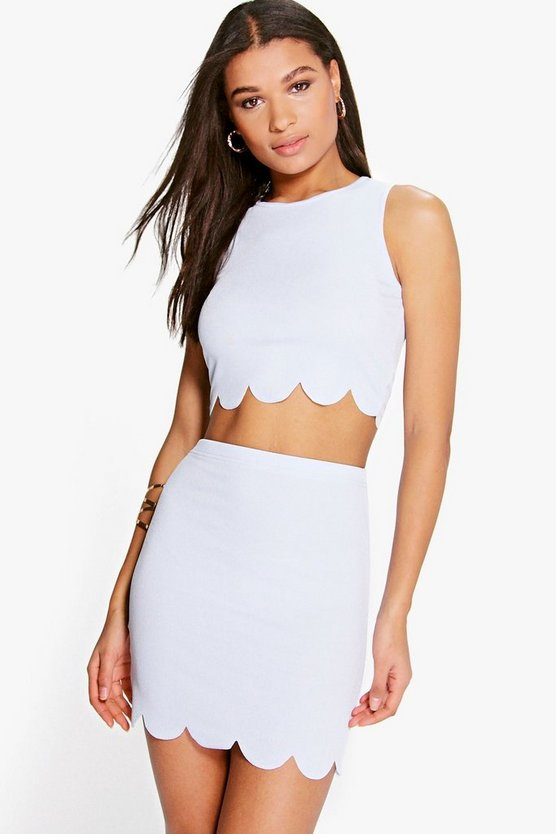 Nataly Scallop Top & Mini Skirt Co-Ord Set
