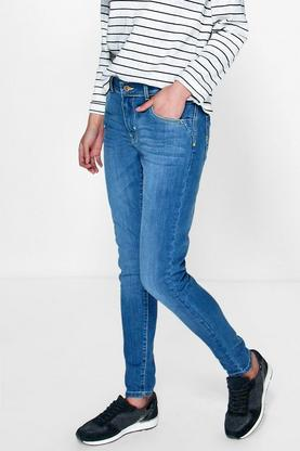 Michelle Mid Rise 5 Pocket Sand Blasted Skinny Jeans