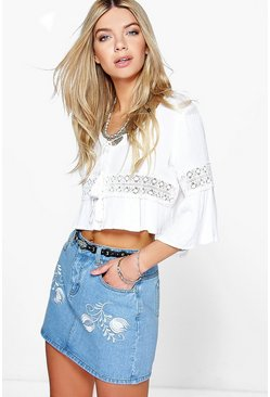 Lucy Embroidered Western Denim Skirt