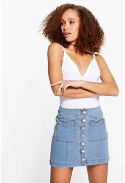 Julie Double Pocket Button Through Denim Skirt