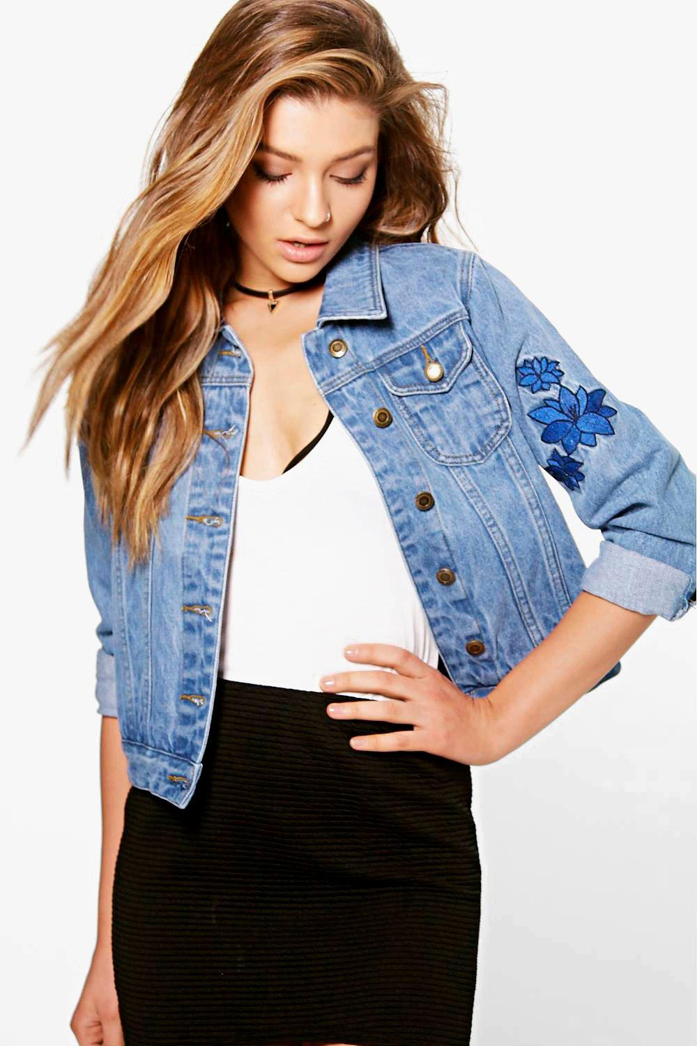 Sadie Embroidered Back Detail Denim Jacket