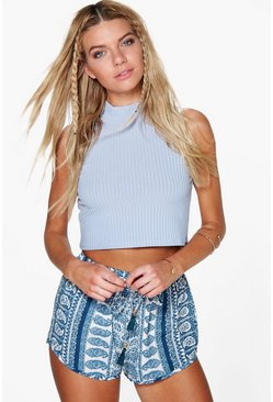 Betty Blue Paisley Print Runner Shorts