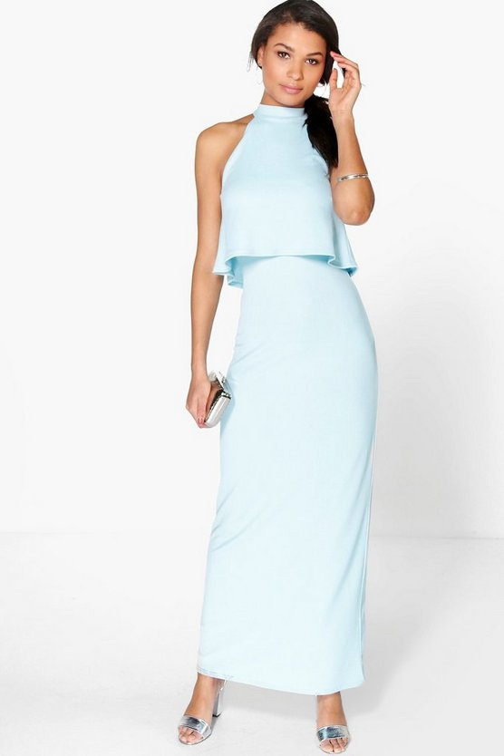 Lisandra High Neck Double Layer Maxi Dress