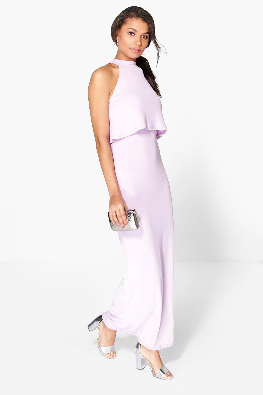 boohoo lisandra robe maxi double paisseur col montant pour femme ebay. Black Bedroom Furniture Sets. Home Design Ideas